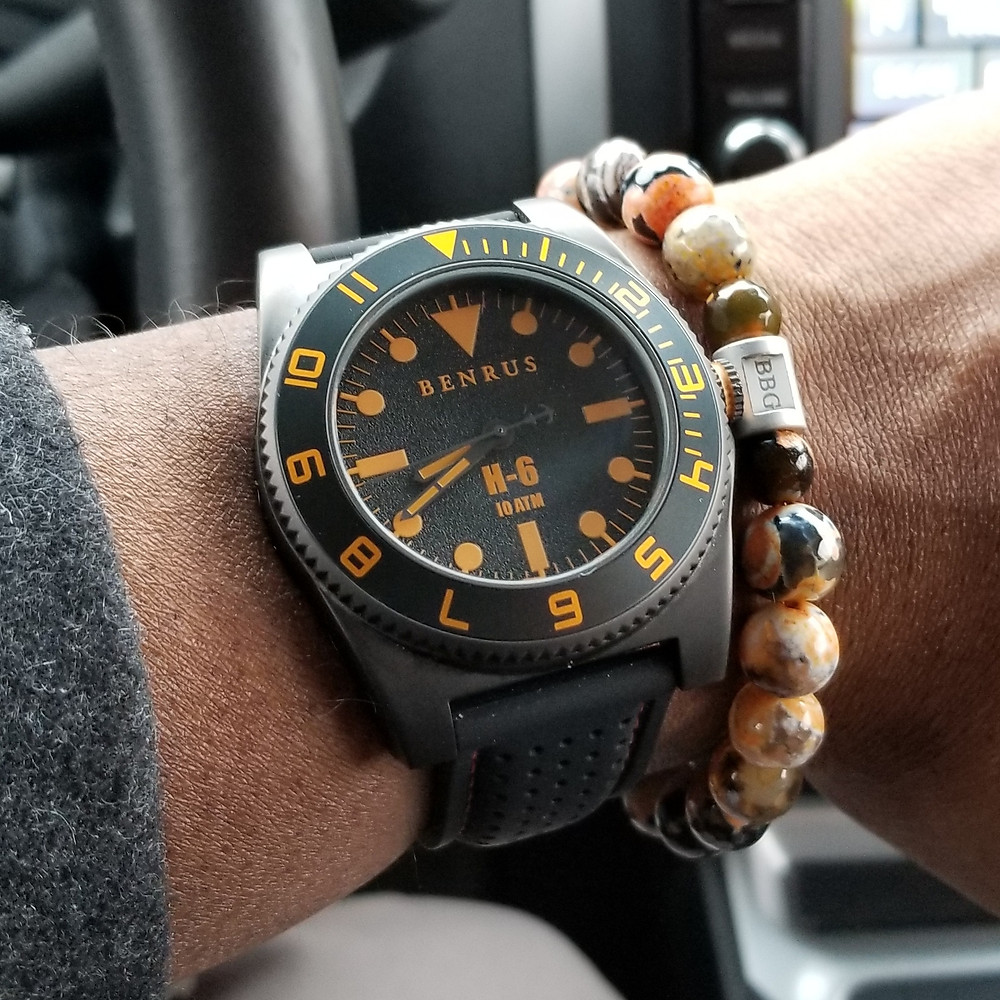 WOTD wrist-shot of the Benrus, H-6, Mil-Spec Diver, paired with a custom, beaded bracelet., designed by Beads By Gonzo