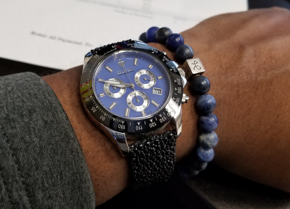 WOTD wrist-shot of the Croton, Chronomaster 925, paired with an Aurum Brothers, Sodalite, Beaded Bracelet.