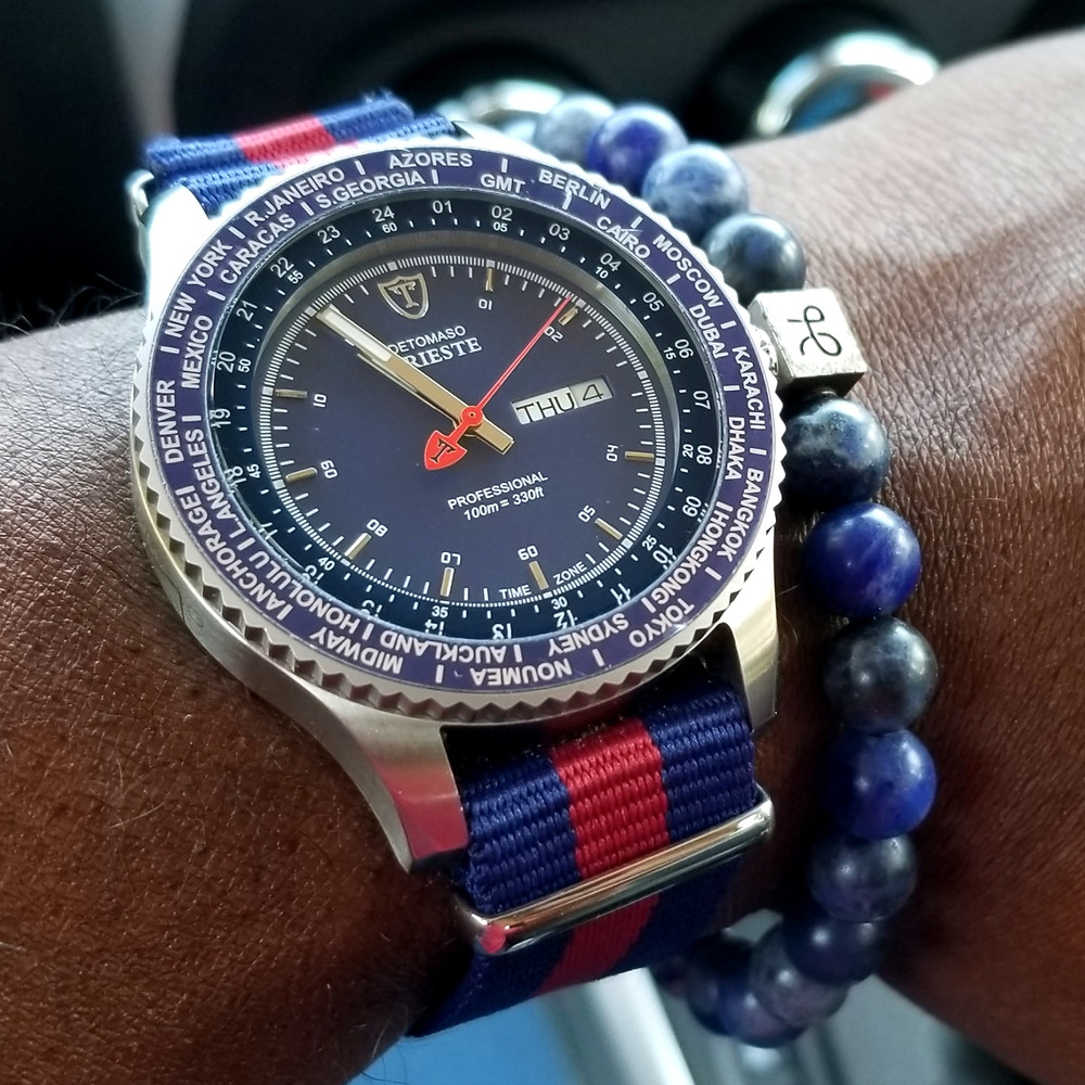 WOTD wrist-shot of the Detomaso, Trieste Globetrotter.  Paired with a Sodalite stone, beaded bracelet, designed by Aurum Brothers.