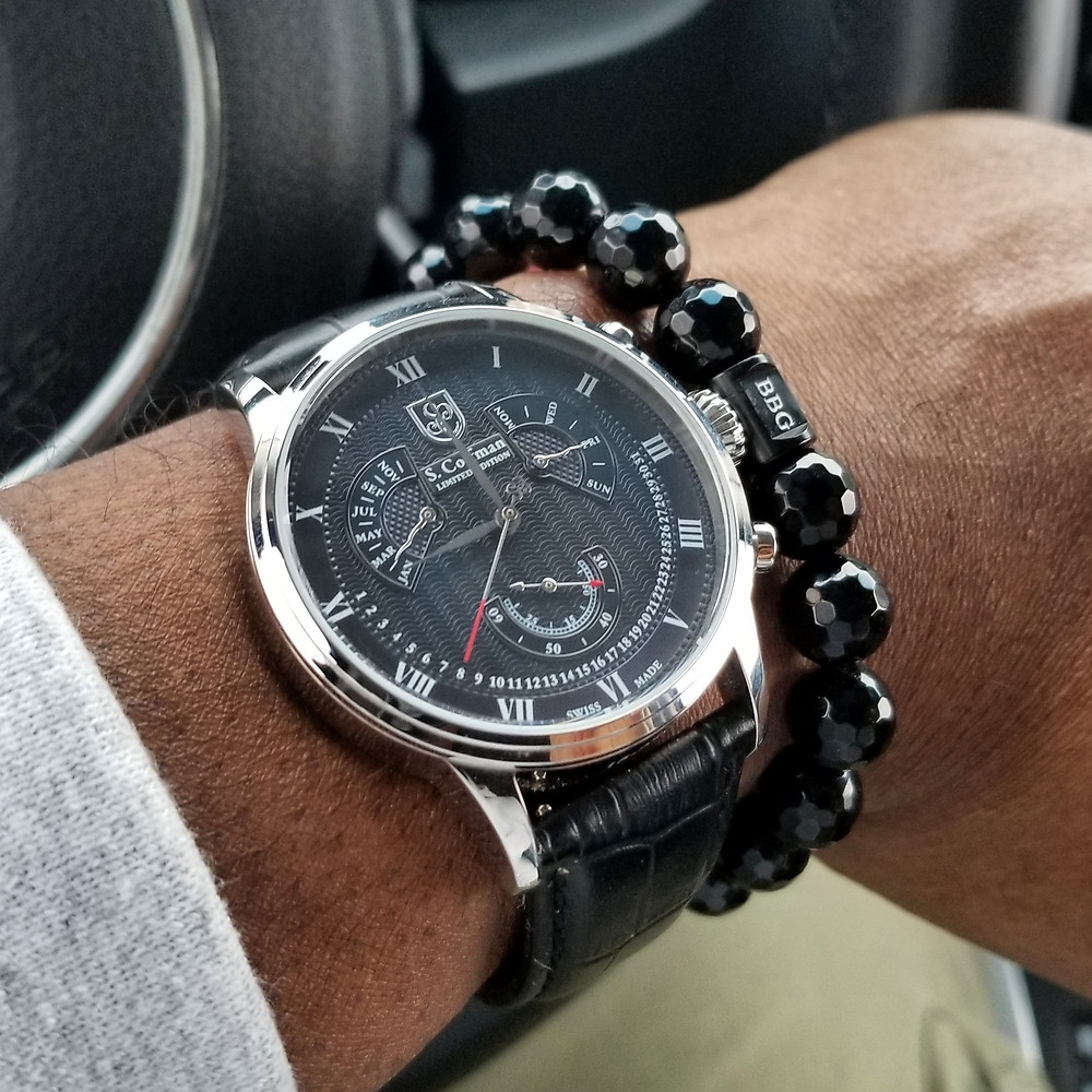 WOTD wrist-shot of the S. Coifman, Perpetual Calendar, Limited Edition, paired with a custom designed, beaded bracelet, designed by Beads By Gonzo.