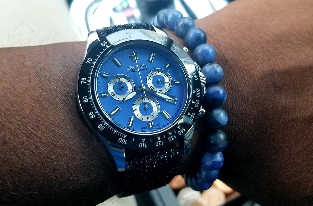 WOTD Wrist Shot showing the Croton, Chronomaster 925, accessorized with a blue sodalite beaded bracelet from Aurum Brothers.