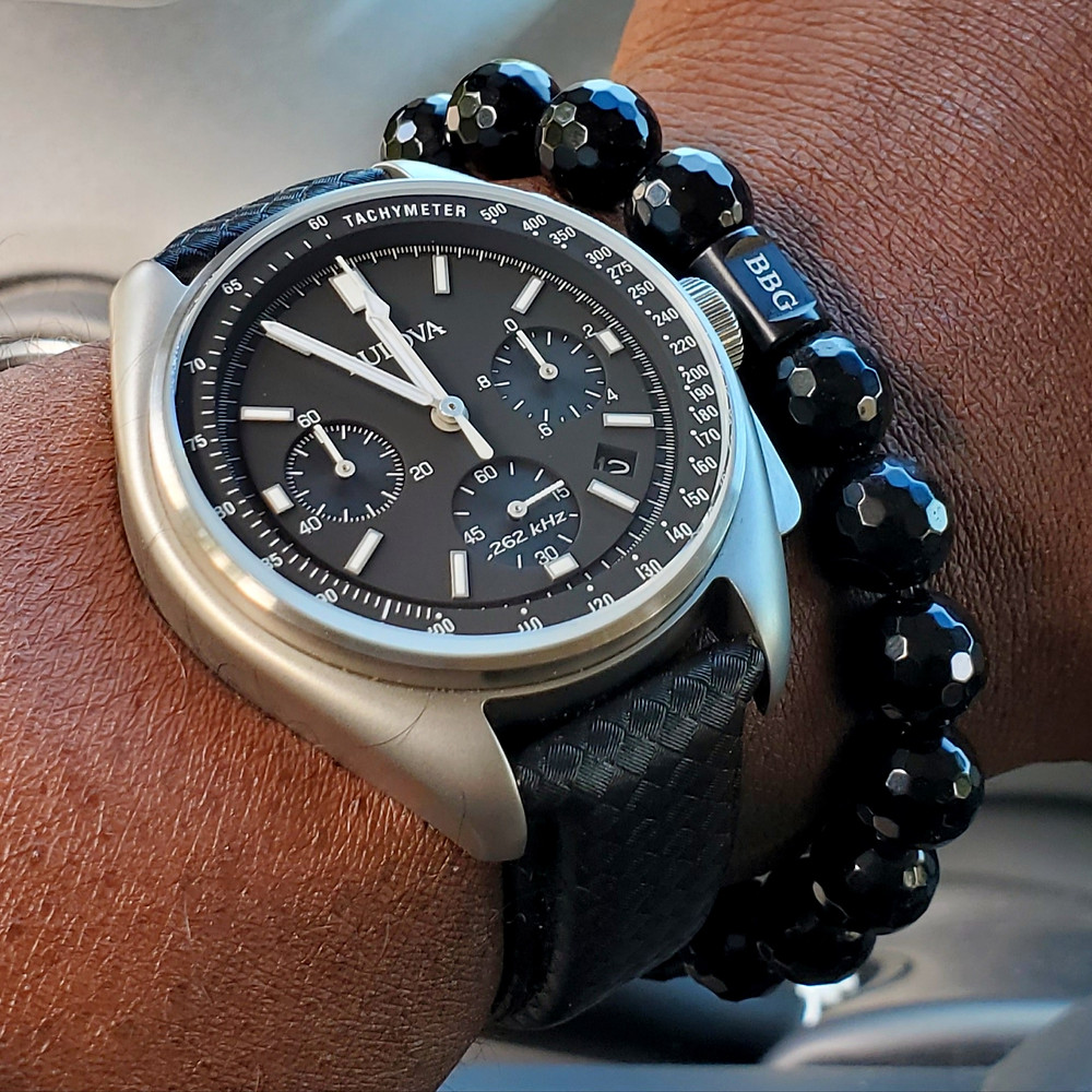 WOTD wrist-shot of the Bulova, Lunar Pilot, Special Edition.  Paired with a custom-crafted bracelet, designed by Beads by Gonzo.