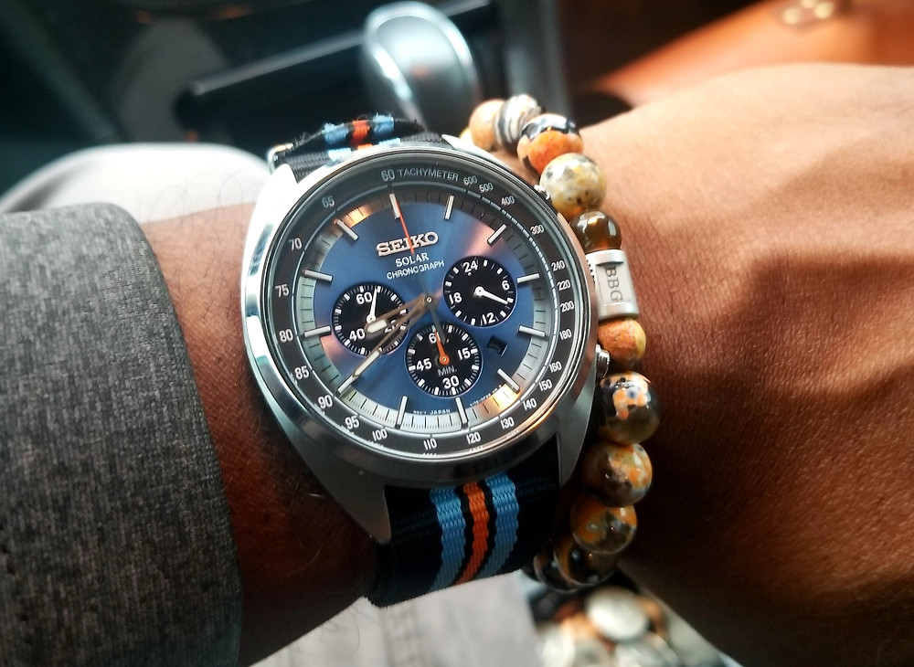 WOTD wrist-shot of the Seiko Recraft, Solar Chronograph, paired with a custom beaded bracelet, designed by Beads By Gonzo.