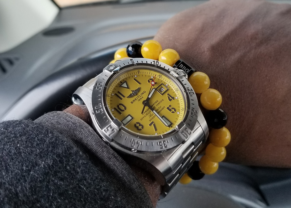 WOTD wrist-shot of the Breitling, Avenger Seawolf, paired with a custom, beaded-bracelet, designed by Beads By Gonzo.