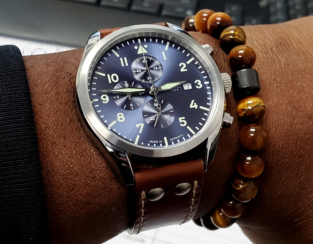 WOTD wrist-shot of the Laco, Atlantic - Chronograph.  Paired with a SoHo bracelet, designed by Dorsal Bracelet Company.