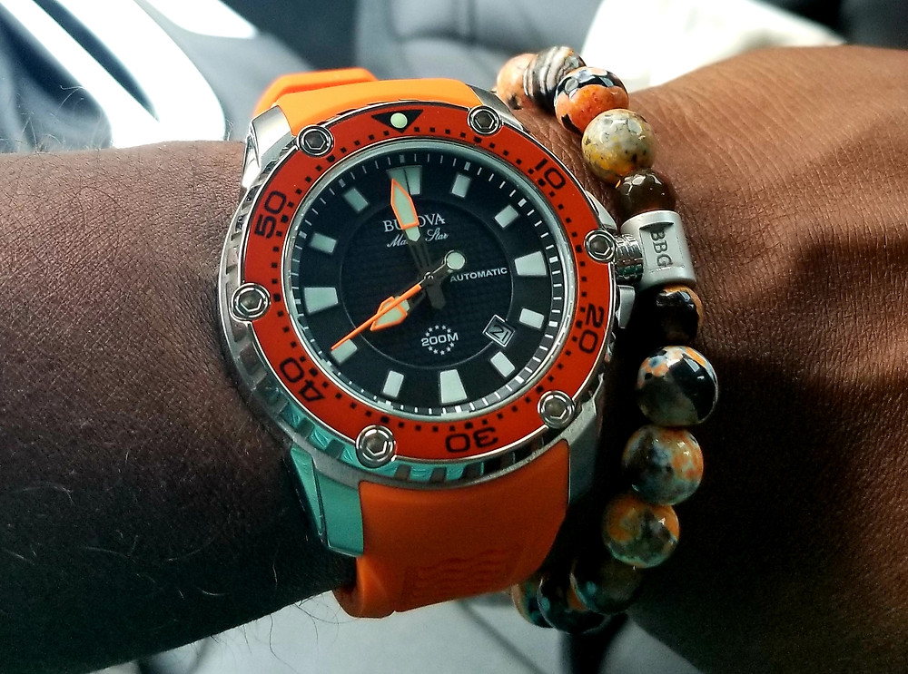 WOTD Wrist-Shot showing the Bulova, Marine Star, Dive Watch, accompanied by custom-made beaded bracelet, from vendor Beads By Gonzo.