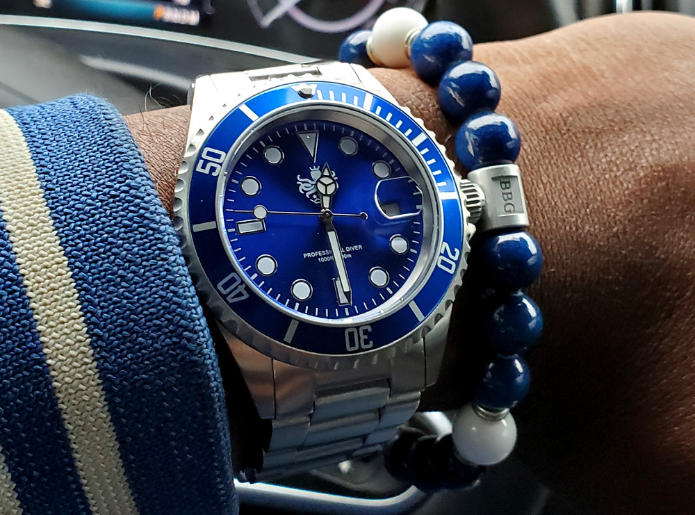 WOTD wrist-shot of the Phoibus Submariner.  Accessorized with a custom bracelet, created by Beads By Gonzo.
