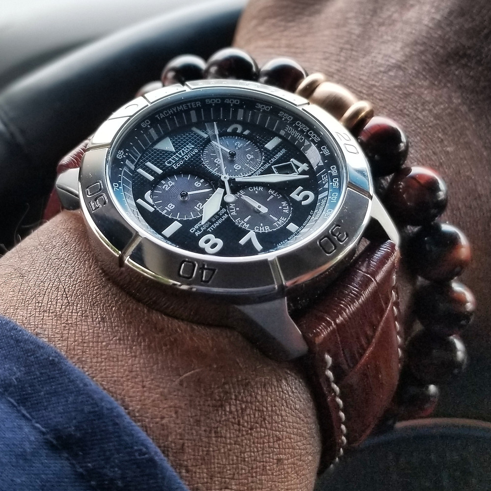 WOTD wrist-shot of the Citizen Eco-Drive, Aviator Chronograph, Perpetual Calendar.  Paired with a Tiger's-Eye, Beaded Bracelet.