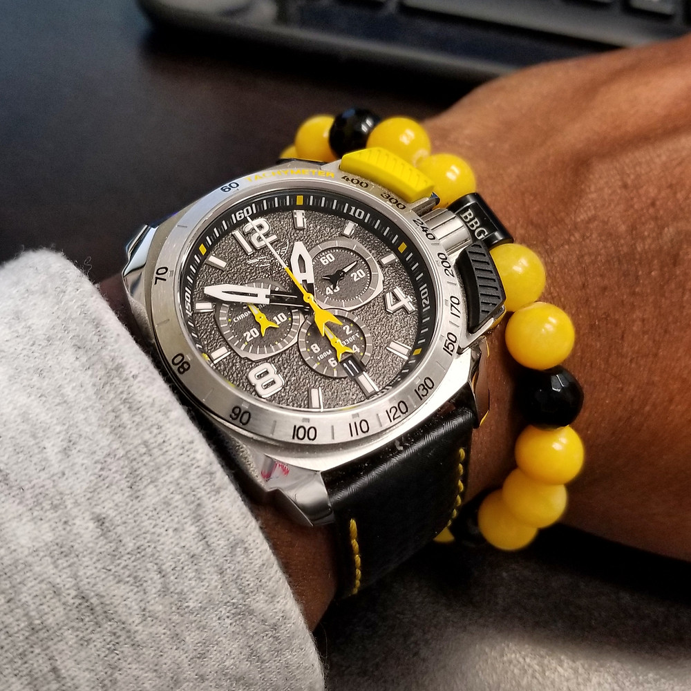 WOTD wrist-shot of the Aviator, SWIFTS Flight Team, Professional Chronograph, Limited Edition, paired with a custom designed, beaded bracelet, designed by Beads By Gonzo.