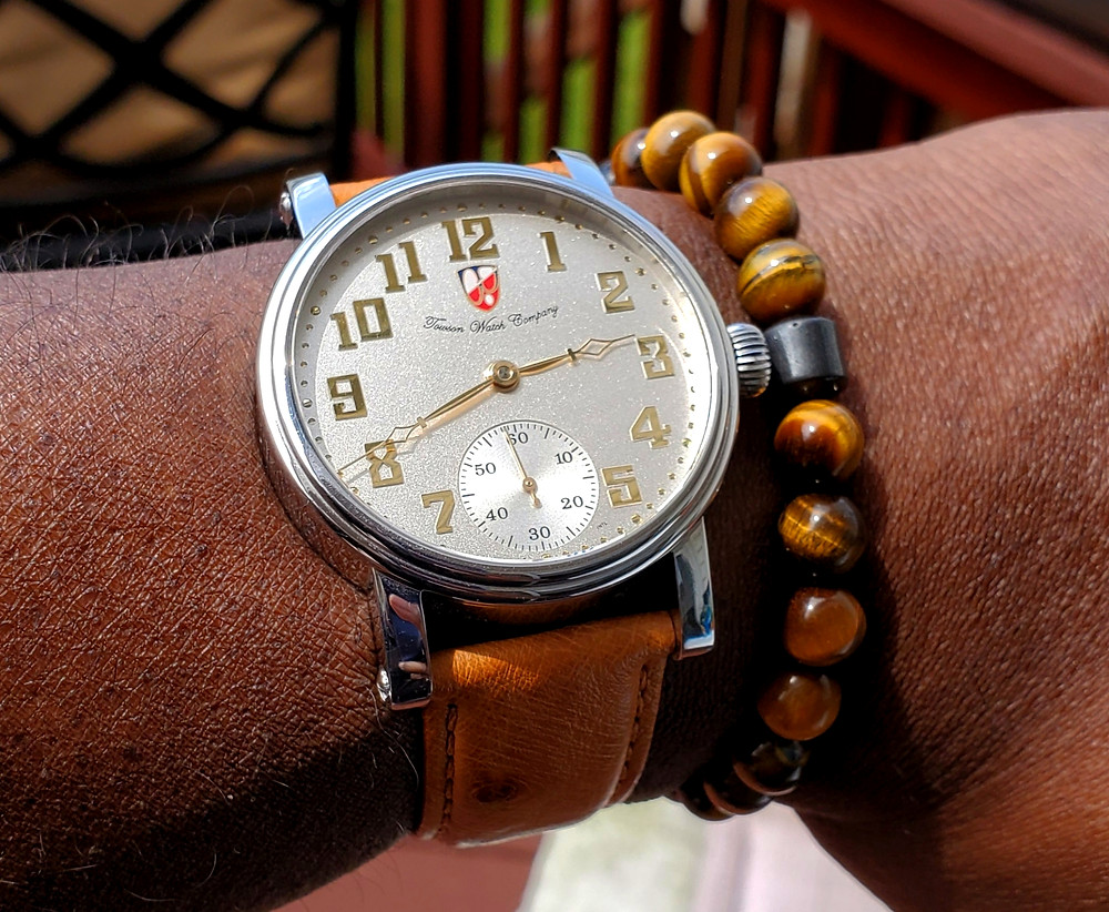 WOTD Wrist-Shot of the Towson Watch Company, Potomac - Pilot, paired with a beaded bracelet, crafted by Dorsal Bracelet Co., in color SoHo.