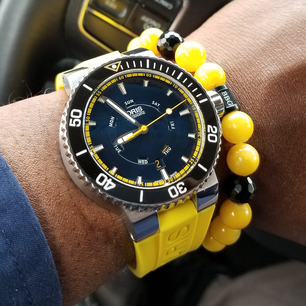 WOTD wrist-shot of the Oris, Aquis, Great Barrier Reef, Limited Edition II.  Paired with a custom, beaded bracelet, designed by Beads By Gonzo.
