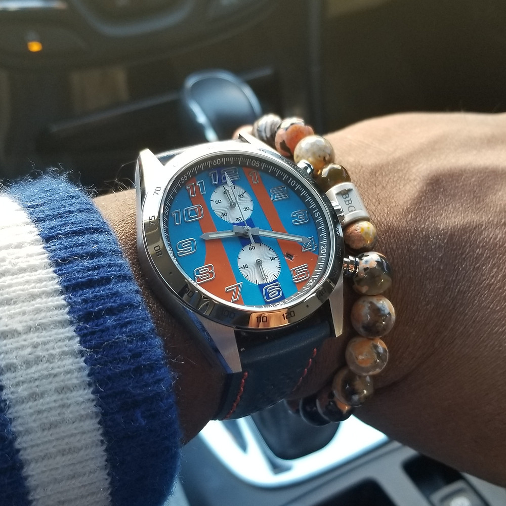 WOTD wrist-shot of the Szanto, Danny Sullivan GT Mod, paired with custom, beaded bracelet, designed by Beads By Gonzo.