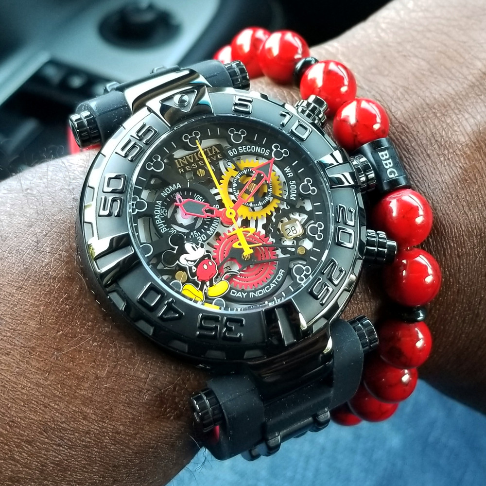 WOTD wrist-shot of the Invicta Reserve, SubAqua Noma I Chronograph, Mickey Limited Edition.  Paired with a custom, beaded bracelet, designed by Beads By Gonzo.