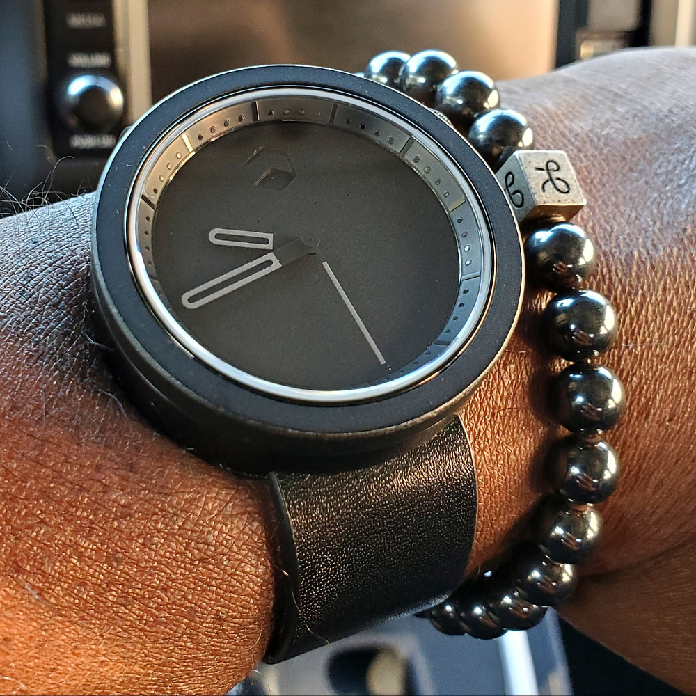 WOTD wrist-shot of the Ag-Gre-Gate, Masonic.  Paired with a minimalist, Hematite stone bracelet, designed by Aurum Brothers.
