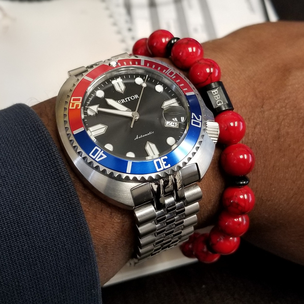 WOTD wrist-shot of the Heritor, Morrison Automatic Diver, paired with custom, beaded bracelet, designed by Beads By Gonzo.