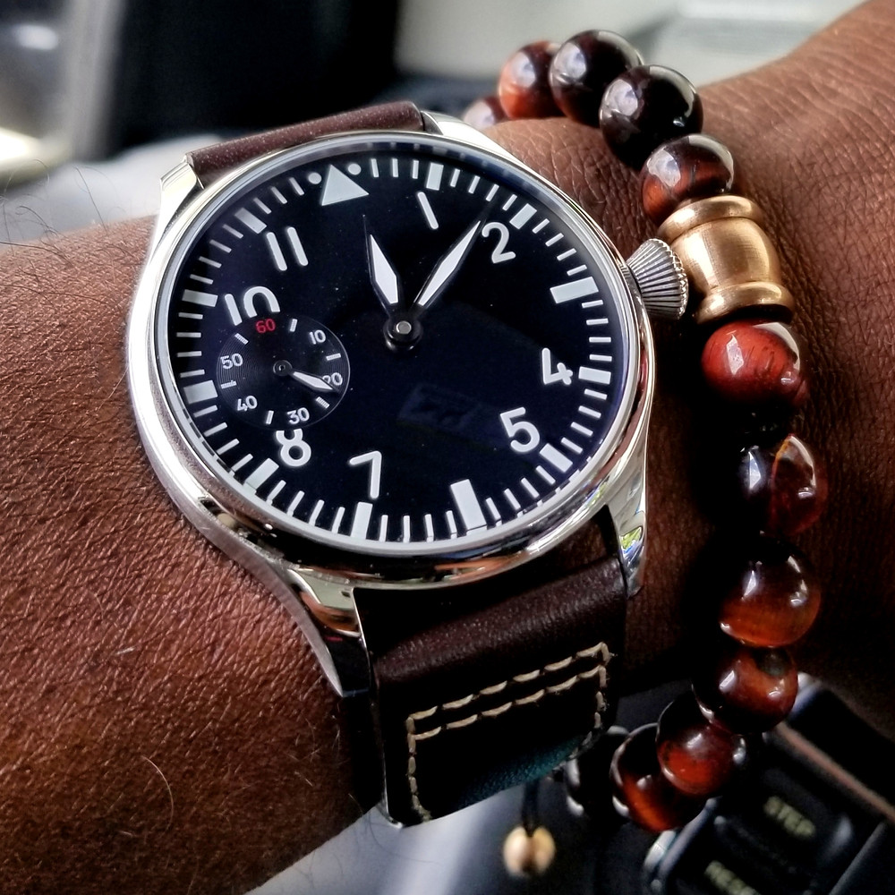 WOTD wrist-shot of the Parnis, Big Pilot Mechanical (Sterile Dial).  Paired with a Tiger's-Eye stone beaded bracelet.