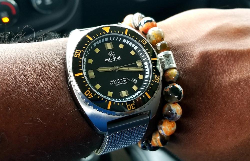 WOTD wrist shot showing the Deep Blue, Deep Star 1000 Diver, alongside Beads By Gonzo, custom-designed beaded bracelet.