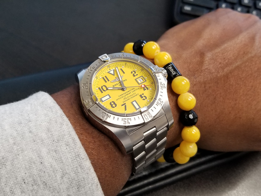 WOTD wrist-shot of the Breitling, Avenger Seawolf, paired with a custom, beaded bracelet., designed by Beads By Gonzo