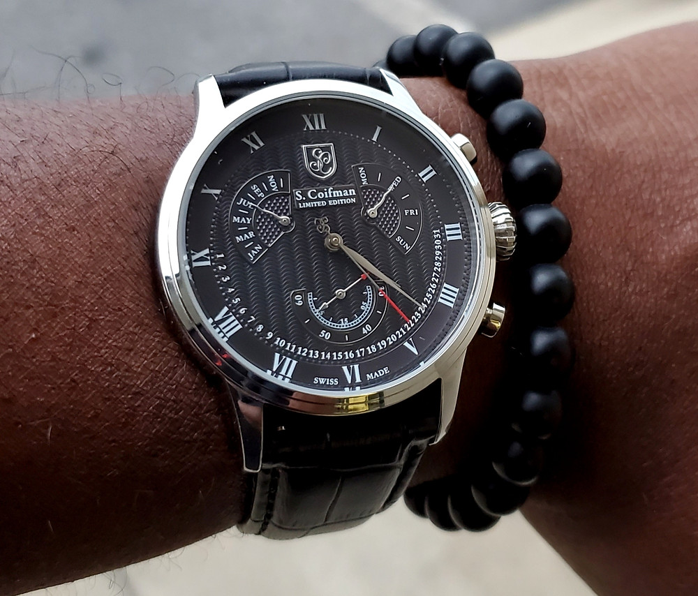WOTD wrist-shot of the S. Coifman, Perpetual Calendar.  Paired with a Lava stone bracelet, designed by Monooc.