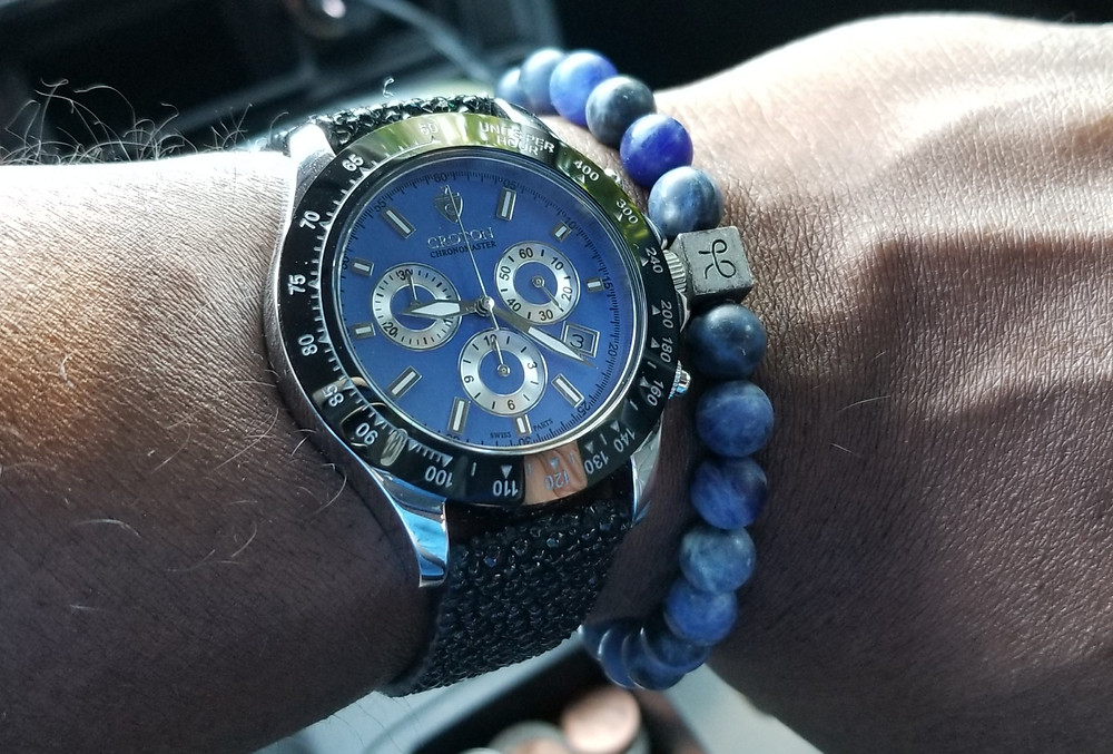 WOTD Wrist-Shot showing the Croton, Chronomaster, accompanied by an Aurum Brothers, minimalist, Sodalite, beaded bracelet.