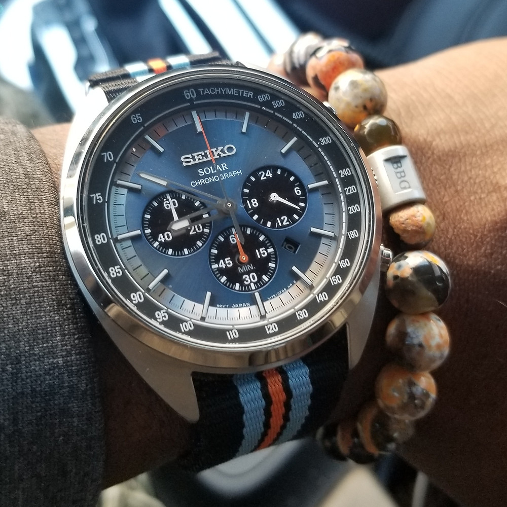 WOTD wrist-shot of the Seiko Recraft, Solar Chronograph, paired with custom, beaded bracelet, designed by Beads By Gonzo.