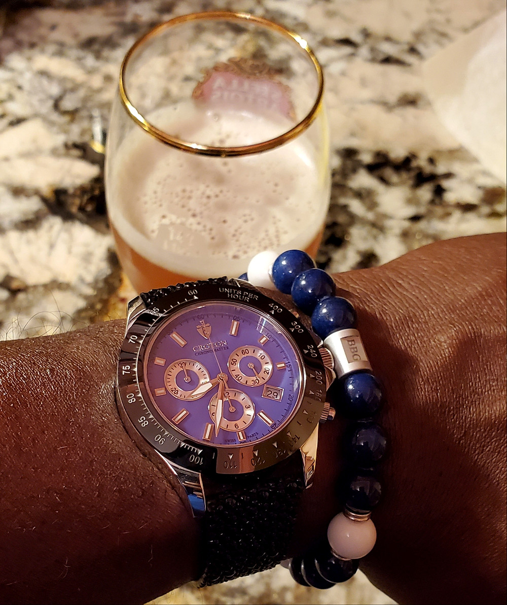 WOTD wrist-shot of the Croton, Chronomaster 925 Chronograph.  Paired with a custom-designed bracelet, designed by Beads By Gonzo.