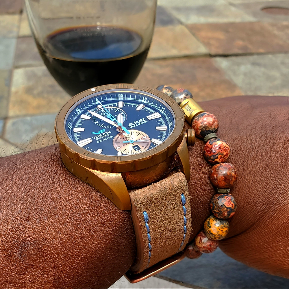 WOTD wrist-shot of the Vostok Europe, Almaz - Space Station Chronograph, Bronze, Limited Edition.  Matched with a custom bracelet, designed by Beads By Gonzo.