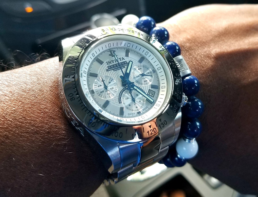 "WOTD wrist shot of the Bulova, Oceanographer, Snorkel, A/K/A ""Devil Diver"" 666, along-side custom beaded bracelet by Beads By Gonzo."