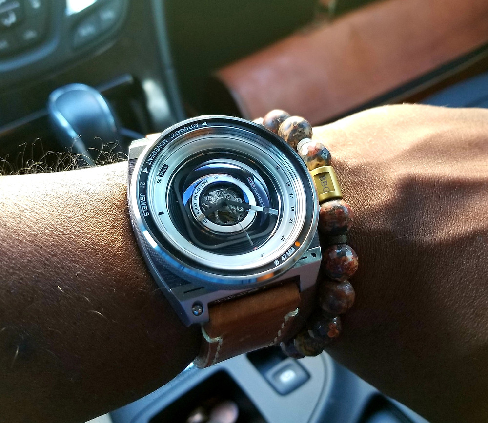 WOTD wrist shot of the TACS, Automatic, Vintage Lens II with custom beaded bracelet by Beads By Gonzo.