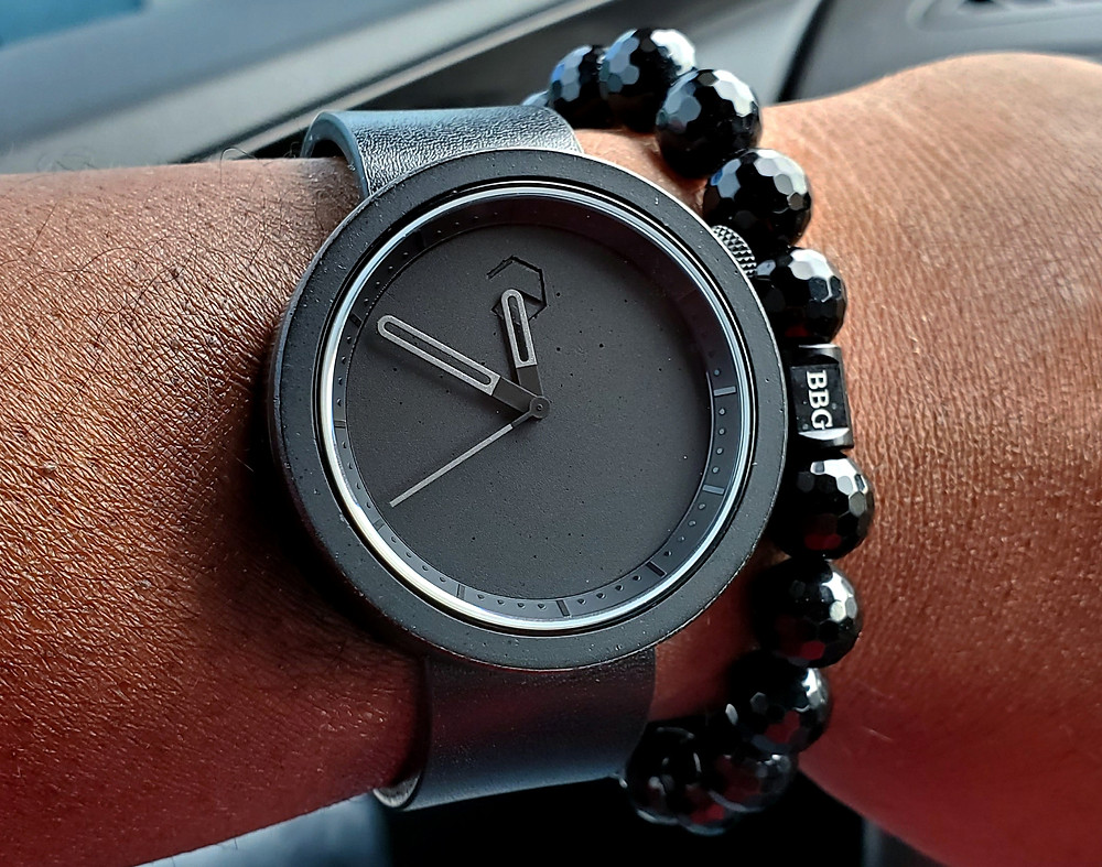 WOTD wrist-shot of the Ag-Gre-Gate Masonic, in Black.  Paired with a Beads By Gonzo custom-crafted bracelet.