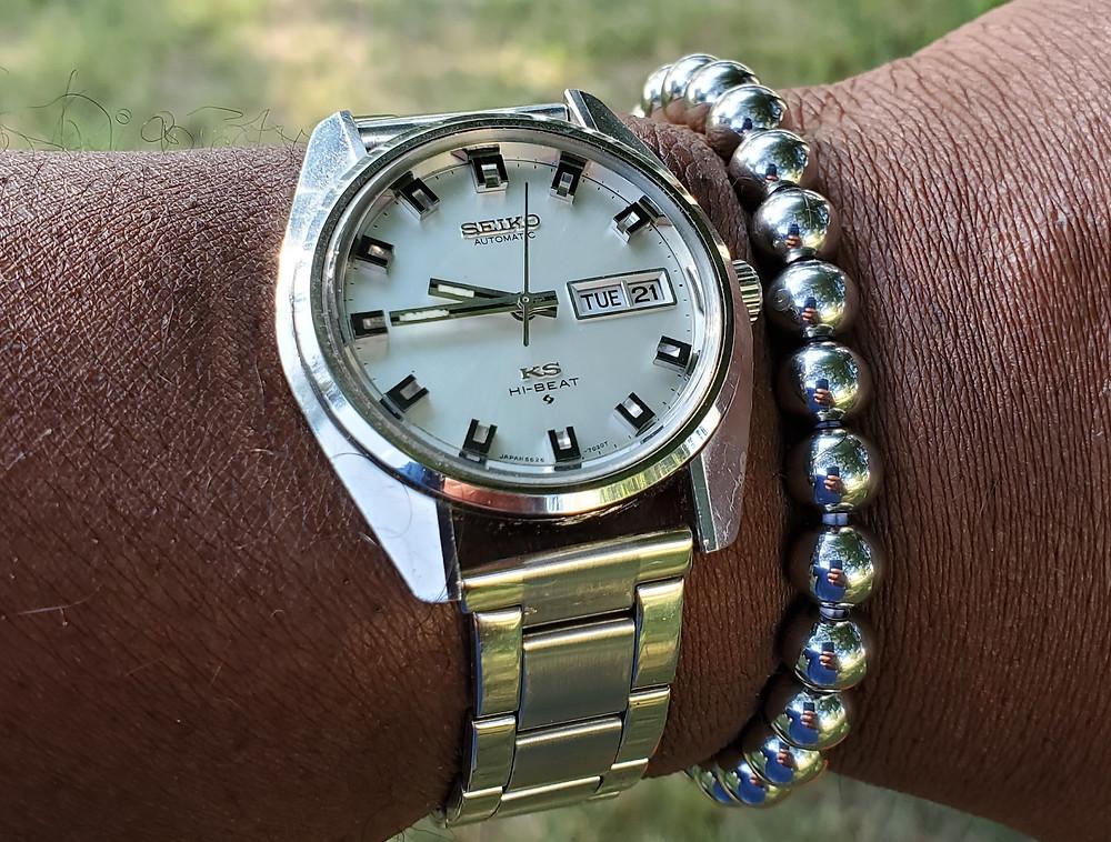 WOTD wrist-shot of the 1970, vintage, King Seiko.