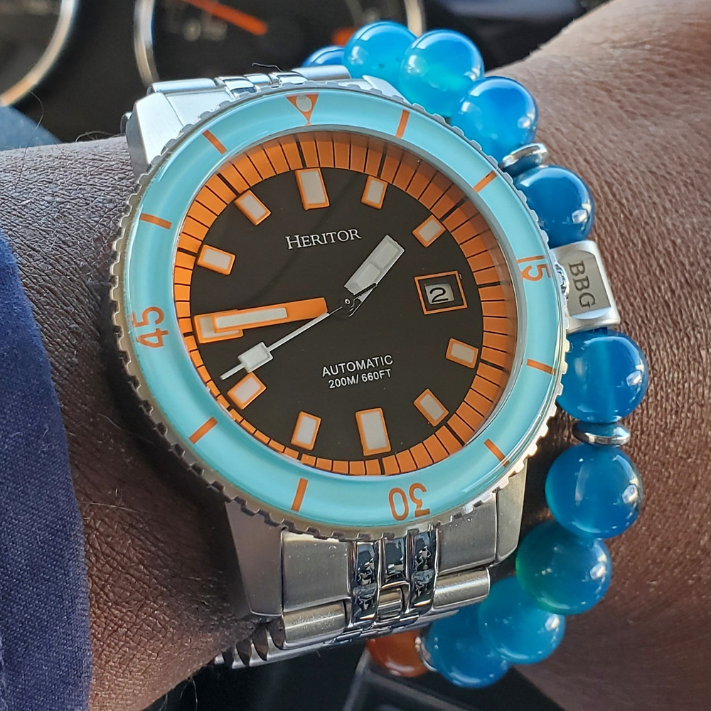 WOTD wrist-shot of the Heritor, Edgard Diver.  Paired with a custom-crafted bracelet, designed by Beads By Gonzo.