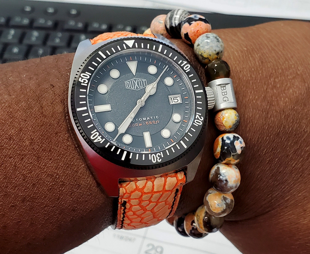 WOTD wrist-shot of the Duxot, Maris Diver.  Paired with a custom-crafted bracelet, designed by Beads By Gonzo.