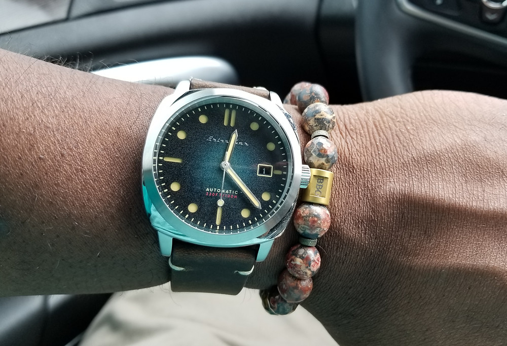 WOTD Wrist-Shot showing the Spinnaker Hull Automatic, accessorized with a custom beaded bracelet from Beads by Gonzo.