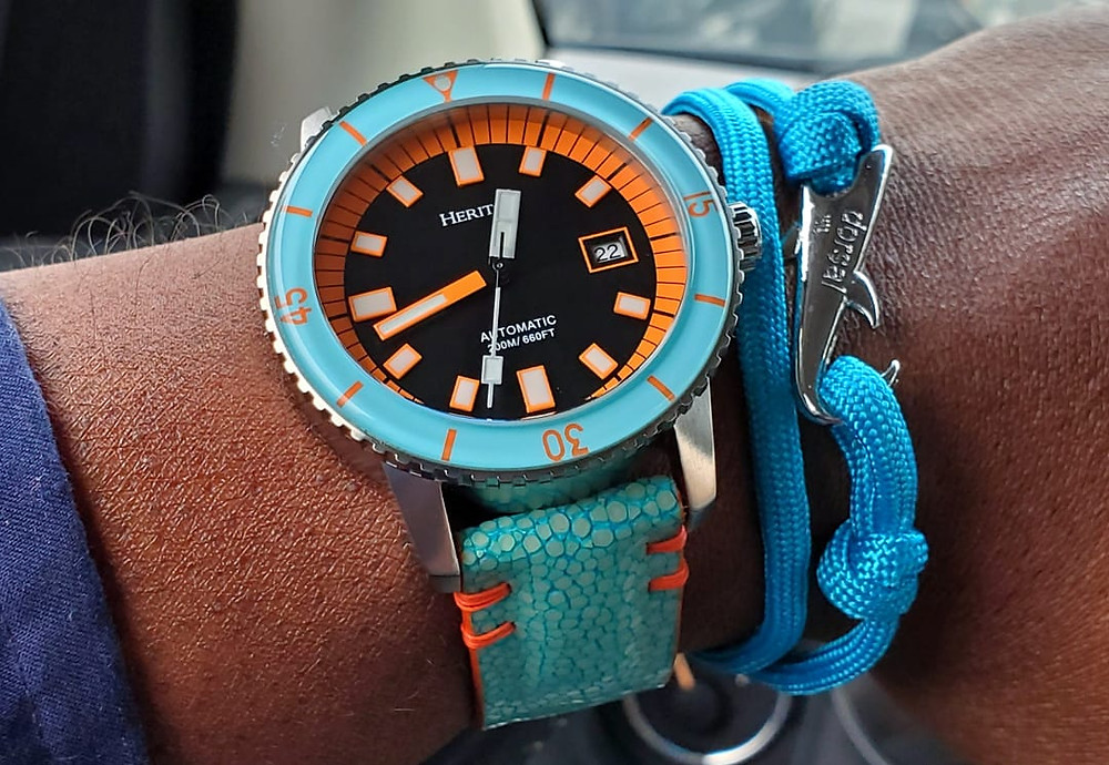 WOTD wrist-shot of the Heritor, Edgard Pro Diver.  Accessorized with a shark, rope bracelet, crafted by Dorsal Bracelet Co.