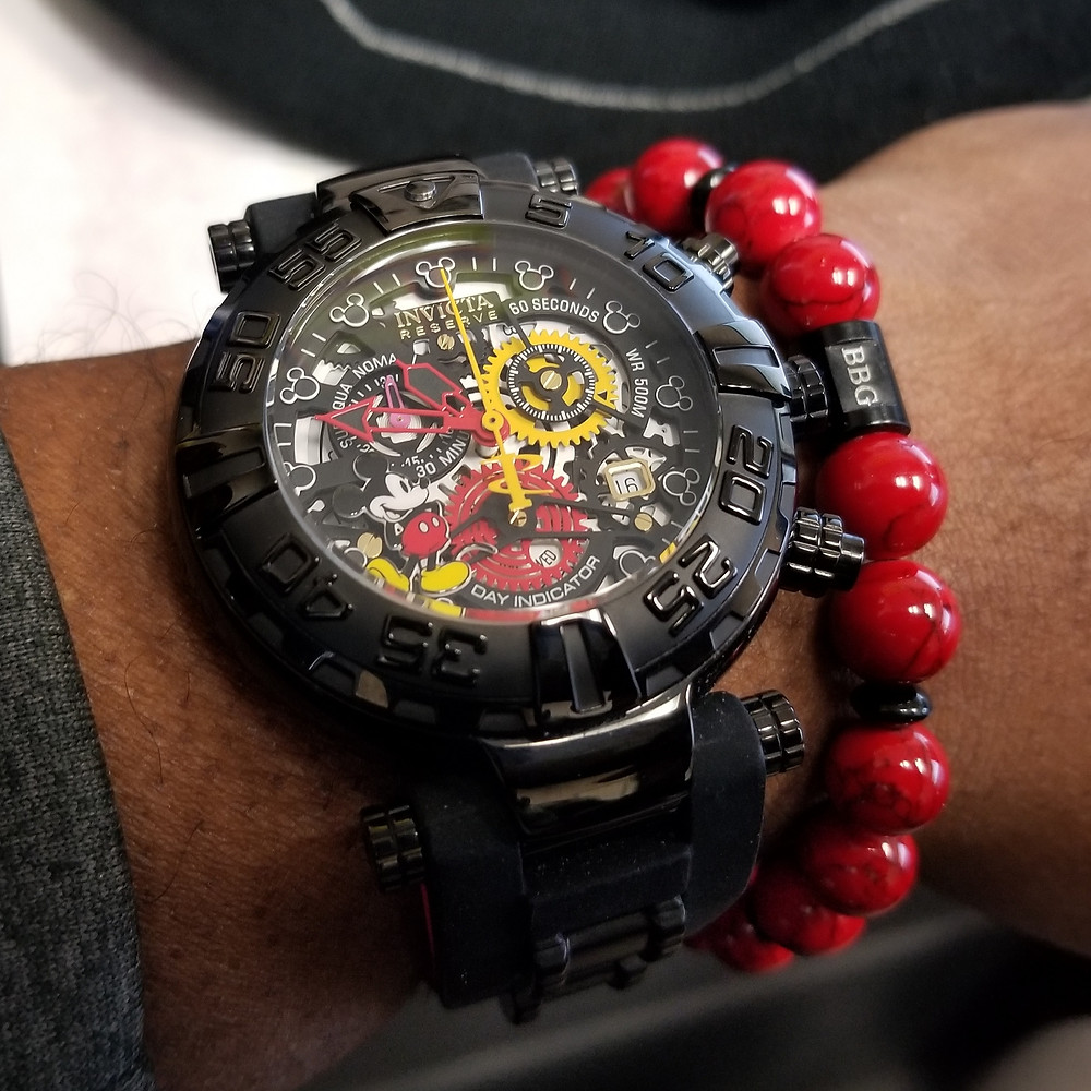 WOTD wrist-shot of the Invicta Reserve, SubAqua Noma I, Mickey Limited Edition, paired with a custom, beaded-bracelet, designed by Beads By Gonzo.