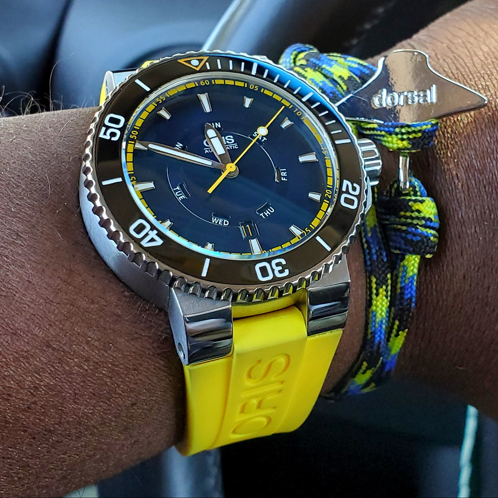 WOTD wrist-shot of the Oris, Aquis, Great Barrier Reef, Limited Edition II.  Paired with Eagle Ray, rope bracelet, designed by Dorsal Bracelet Company.
