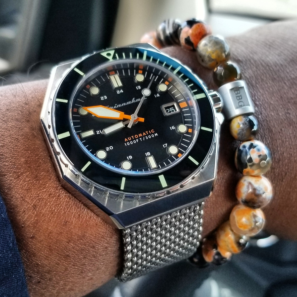 WOTD wrist-shot of the Spinnaker Dumas Diver.   Paired with a custom-designed, beaded bracelet, crafted by Beads By Gonzo.