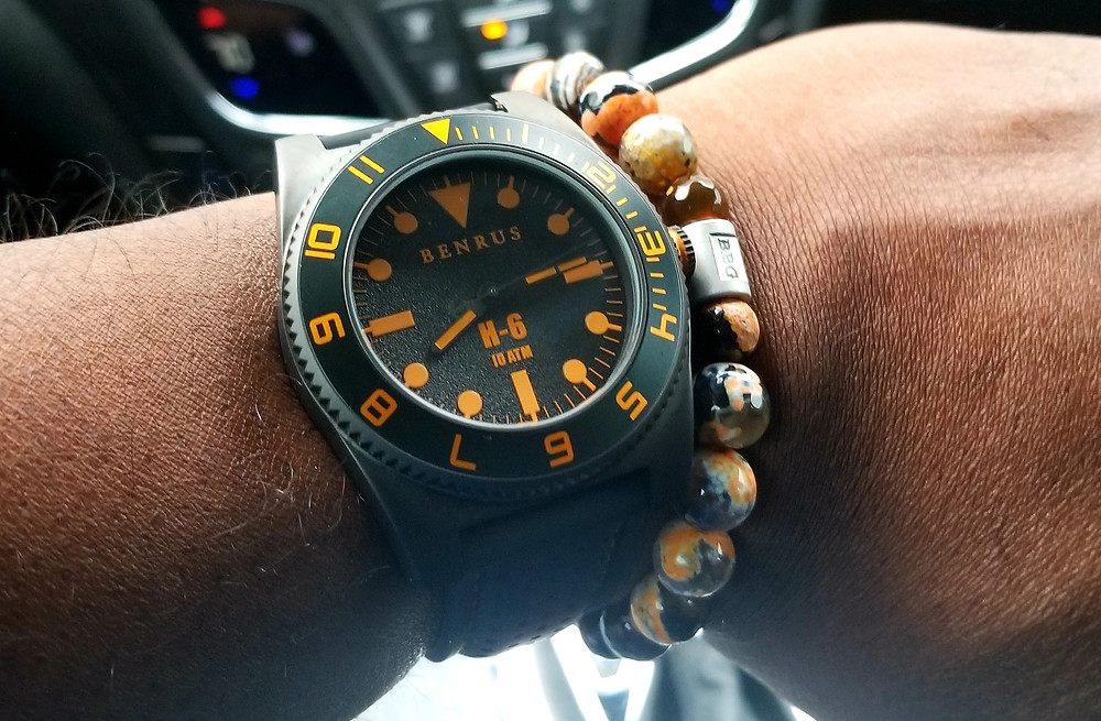 WOTD wrist shot of the Benrus, H-6, accompanied by a custom beaded bracelet from vendor Beads By Gonzo.