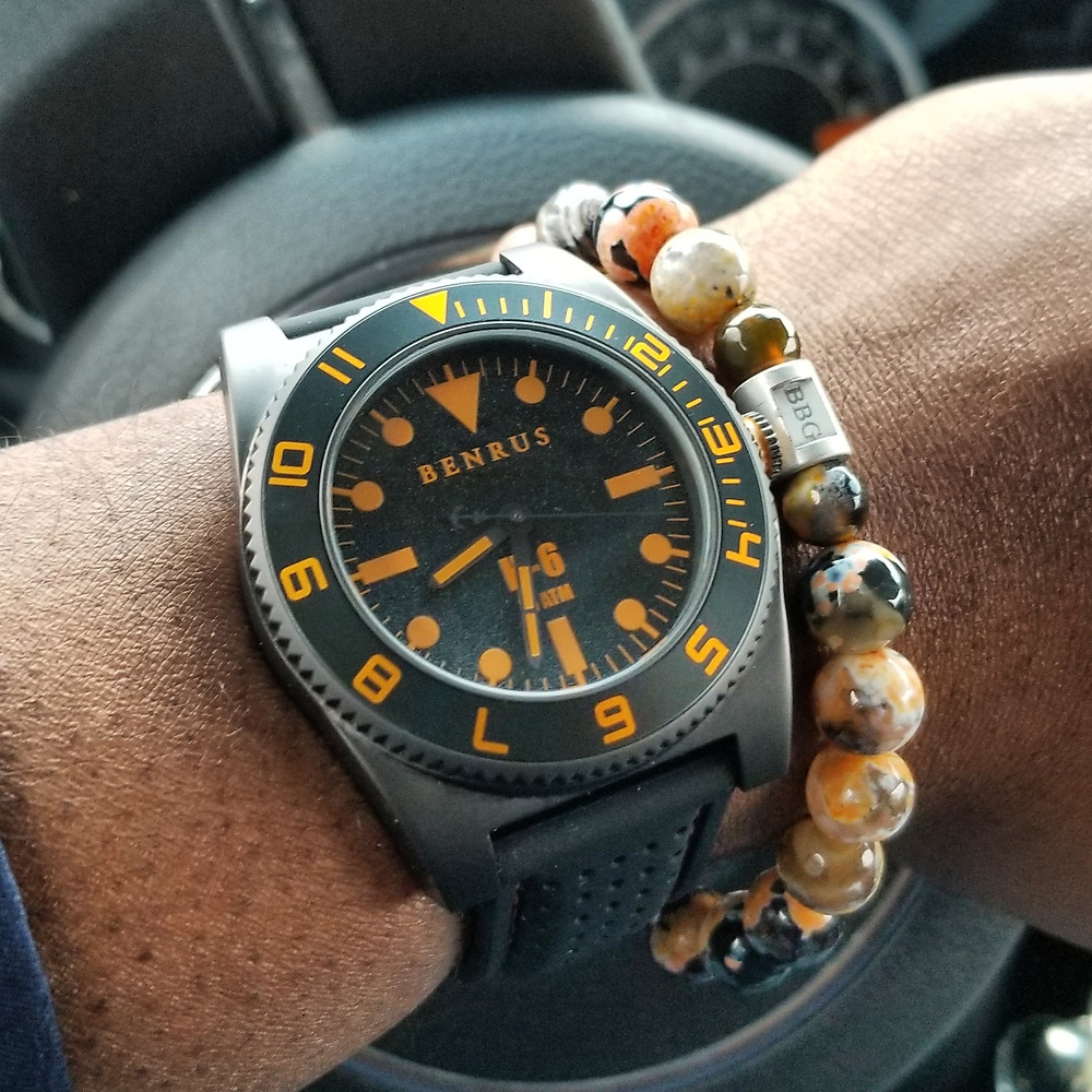 WOTD wrist-shot of the Benrus H-6.   Paired with a custom, beaded bracelet, designed by Beads By Gonzo.