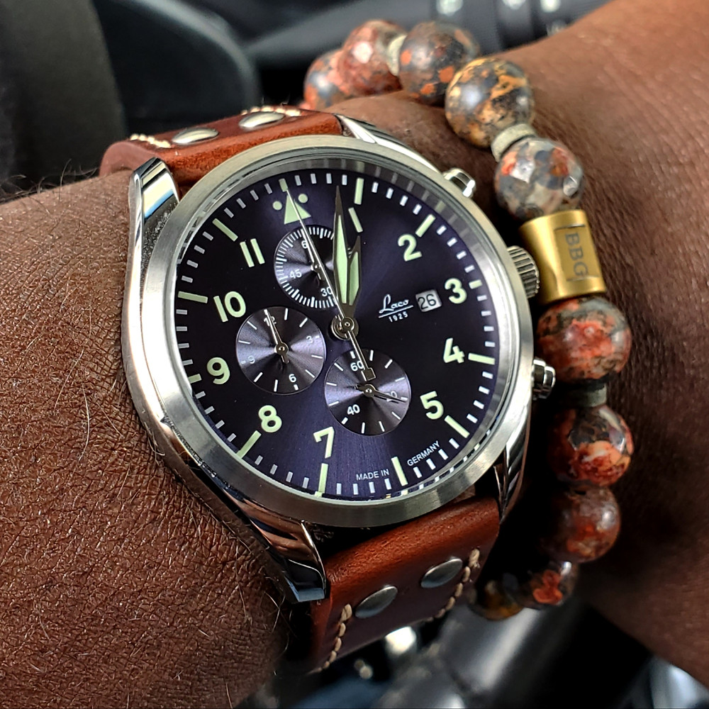 WOTD wrist-shot of the Laco Atlantic, Pilot Chronograph.  Paired with a custom-designed bracelet, crafted by Beads By Gonzo.