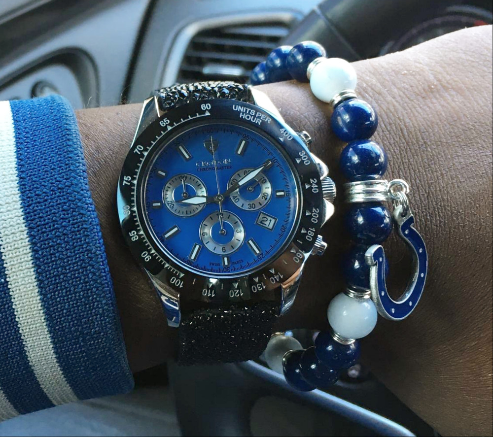 WOTD wrist shot of the Croton, Chronomaster 925, paired with a custom bracelet, designed by vendor Beads By Gonzo
