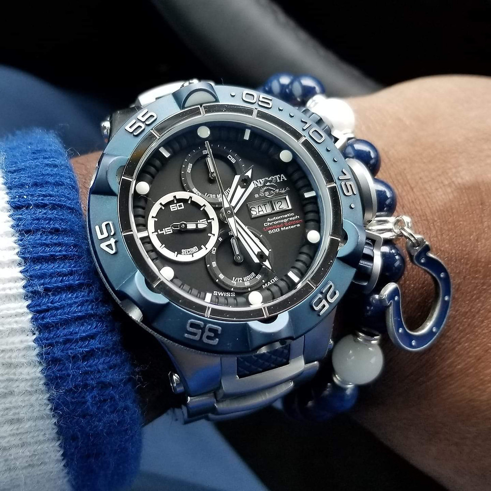 Watch-of-the-day wrist-shot, of the Invicta, SubAqua Noma V, Limited Edition, Automatic Chronograph, paired with a custom, beaded bracelet, designed by Beads By Gonzo.