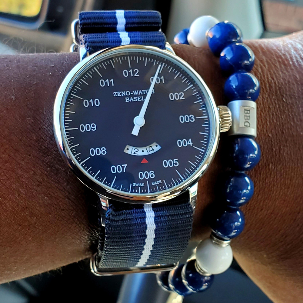 WOTD wrist-shot of the Zeno-Watch Basel, Pilot.  Paired custom-crafted bracelet, designed by Beads By Gonzo.