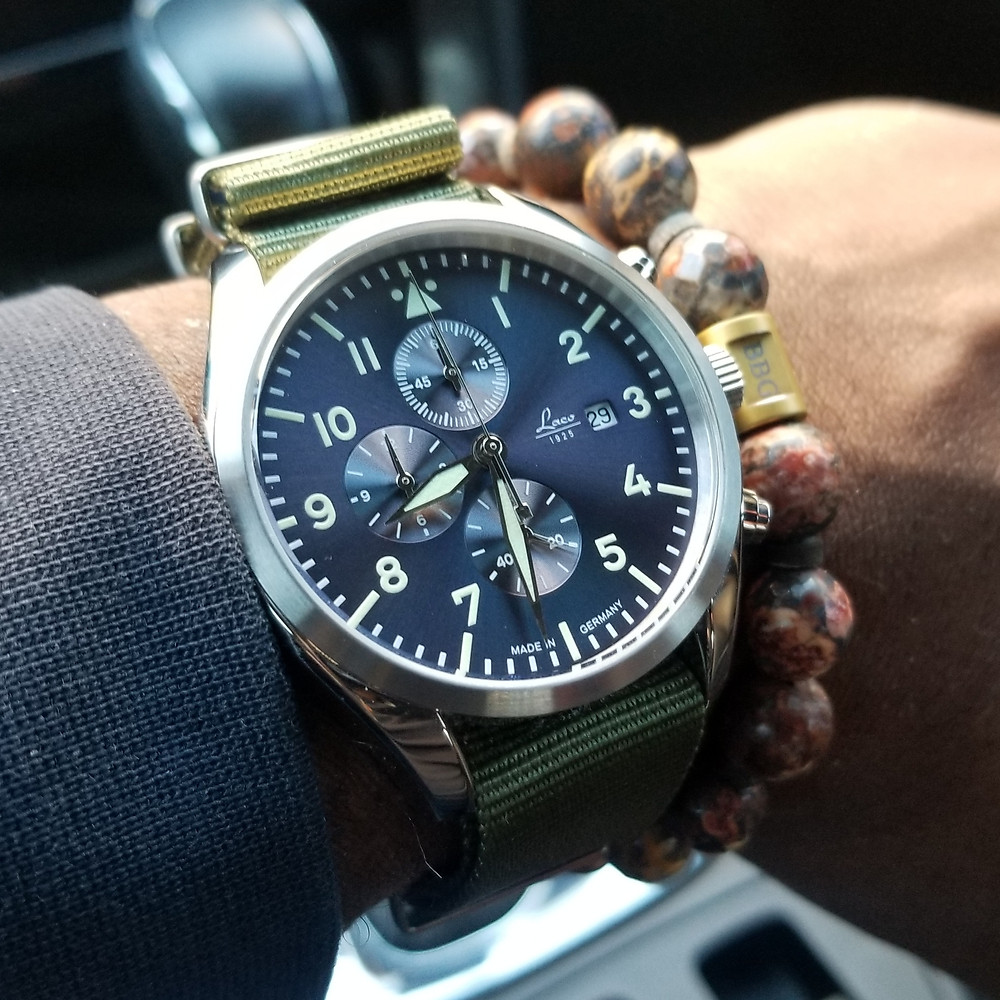 WOTD wrist-shot of the Laco Pilot Chronograph, paired with a flat bracelet, designed by INOX.