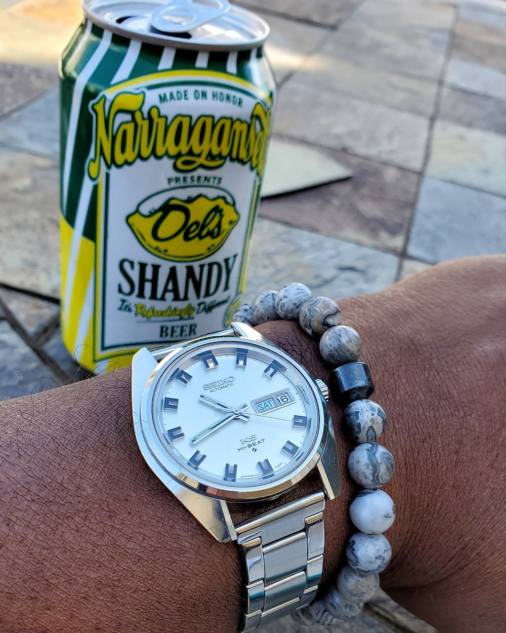 WOTD wrist-shot of the 1970, vintage, King Seiko.  Paired with a Dorsal Bracelet Co., beaded bracelet, in color Pose.
