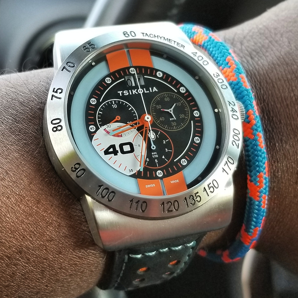 WOTD wrist-shot of the Tsikolia, GT Racing Chronograph, Limited Edition.  Paired with a marine-grade, rope bracelet,designed by Roplet.