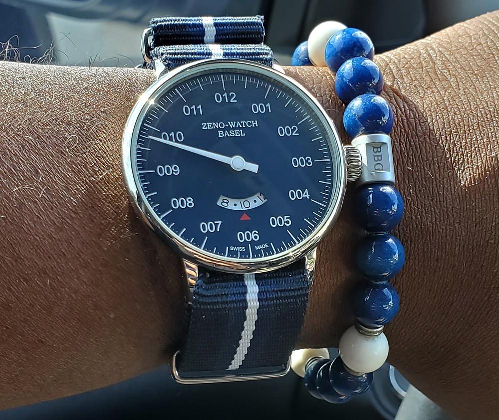 WOTD wrist-shot of the Zeno-Watch Basel, Pilot.  Accessorized with a custom bracelet, created by Beads By Gonzo.