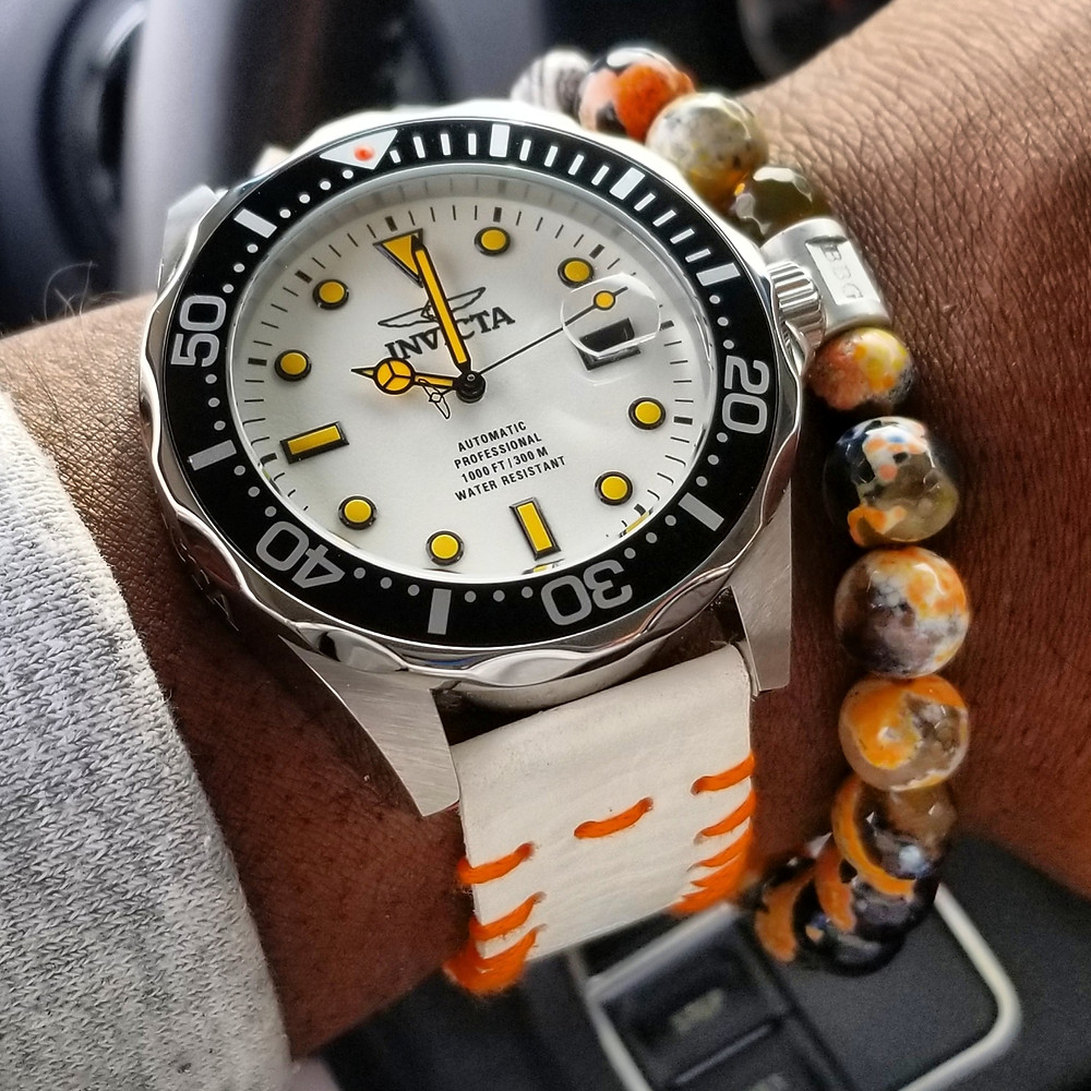 """WOTD wrist-shot of the Invicta """"Creamsicle"""" Grand Diver.  Paired with a custom-designed, beaded bracelet, crafted by Beads By Gonzo."""