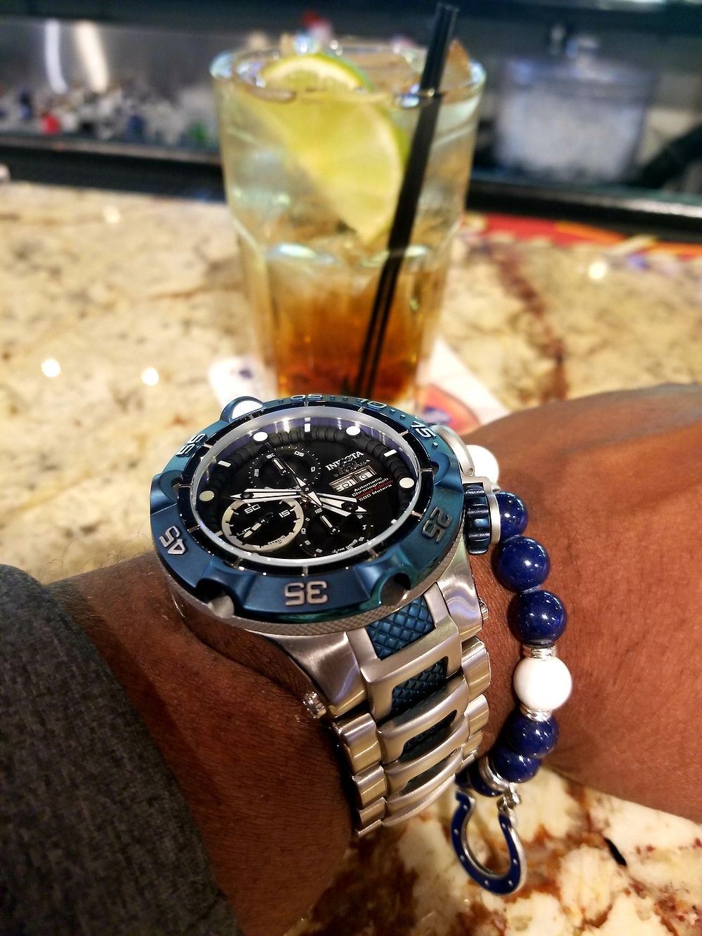 WOTD wrist shot of the Invicta, SubAqua Noma V, Automatic Chronograph, accompanied by custom-made, color-coordinated, bracelet by Beads by Gonzo.